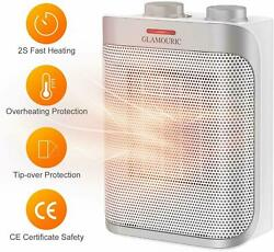 1500W Thermostat Ceramic Space Heater ETL Listed Hot amp; Cool PTC Heater Portable $26.36