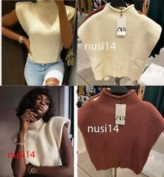 ZARA NEW WOMAN KNIT TOP WITH SHOULDER PADS ECRU DARK PINK SML 3519 110 $38.79