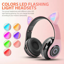 LED Cat Ear Noise Cancelling Headphones Bluetooth 5.0 Kids Headset With Mic Gift $19.66