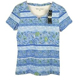 REBECCA MALONE Women#x27;s Short Sleeve Shirt Small Shades of Blue Floral Striped $12.59