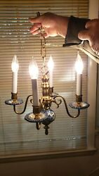 Vintage Solid Brass Small Chandelier with Blue amp; White Flower Ceramic Accents $119.99