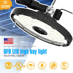 DLC 200W LED UFO High bay Light 5000K Warehouse Fixture Commercial Lighting
