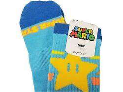 Super Mario Super Star Socks Nintendo Crew Socks Loot Crate Exclusive Blue $12.99