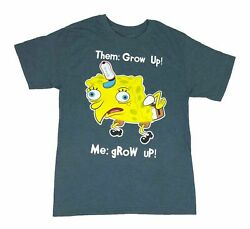 Nickelodeon Spongebob Squarepants Mocking Meme Grow Up Men#x27;s T Shirt $14.99