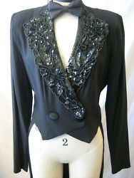 vtg 1980s 90s CLIMAX Sequin Beaded MENS LOOK Cocktail TUXEDO TAILS Jacket Coat M $72.00