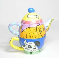 Happy Dog amp; Cat for Chaleur by Karen Gelff Hand Painted Tea Set for One EUC $17.99
