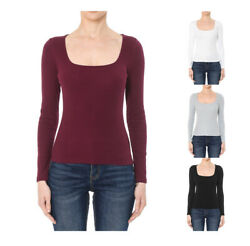 WOMEN COTTON RIBBED SQUARE NECK LONG SLEEVE TOP SHIRT 72554 $9.99