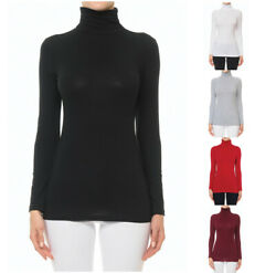 WOMEN SOLID COTTON TURTLENECK FUNNEL NECK LONG SLEEVE TOP SHIRT 67225 $9.99