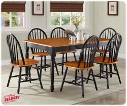 7 Piece Dining Room Table amp; Chairs Set Farmhouse Country Wood Kitchen Furniture $599.99