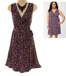 18 20 2X SEXY Womens ABSTRACT PRINT SOFT FAUX WRAP DRESS Summer Party PLUS SIZE $49.99