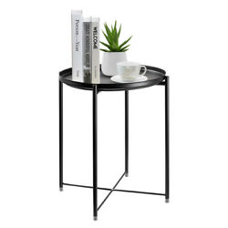 Metal Tray Table Round End Table Sofa Side Table Living Room Bedroom Black $25.64