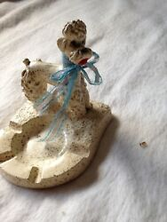 Vintage Plaster Ashtray With White Poodle for smokerschange or earrings $9.00