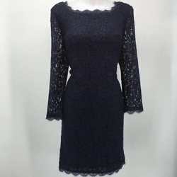 Adrianna Papell Blue Lace Dress 14 $17.99