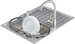Expandable Over Kitchen Sink Small Dish Drainer Drying Rack Chrome Plated New $23.26