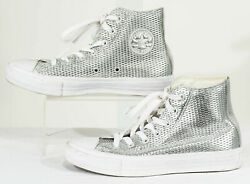 Gently Loved Converse Silver All Star High Top Sneakers Sz. 6 $24.99