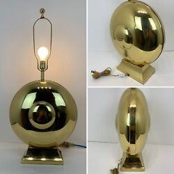 "Vintage Mid Century Lamp Large Brass Oriental Gong Style Asian Inspired. 33"" $79.00"