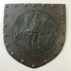 Vtg Hungarian Wall Art Metal Sculpture Relief Arpad Prince of Hungarians 8in $199.98