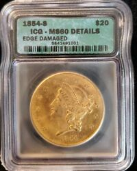 1854 S $20 LIBERTY GOLD DOUBLE EAGLE MS 60 DETAILS ICG 5841491001 $10550.00