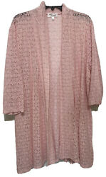 Eve amp; Maddie Womens Top Cardigan 3 4 Sleeve Lace Cover Up 2X 3X $20.79