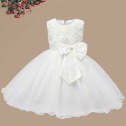 Baby Flower Girl Dress Princess Lace Tutu Bow Wedding Gown Party White Dresses $13.98