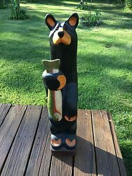 Big Sky Carvers Jeff Fleming Hand Carved Black Bear Sculpture 33quot; Tall $1475.00