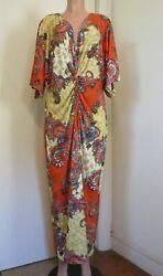 VENUS MULTI COLOR PAISLEY PRINT RUCHED FRONT MAXI DRESS SIZE 1 X $30.00