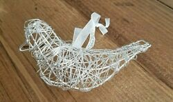 Macy#x27;s Holiday Lane Silver Metal Wire BIRD Sparrow Hanging Ornament Shabby Decor $2.99