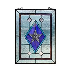 Window Panel Victorian Star Stained Cut Glass Tiffany Style 18quot; x 25quot; $146.34