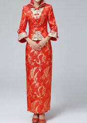Chinese Wedding Traditional Dress Cheongsam Gown Dragon And Phoenix Size L $99.99
