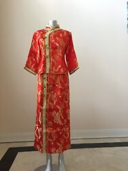 Chinese Wedding Traditional Dress Cheongsam Gown Dragon And Phoenix Size XL $99.99