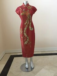 Chinese Wedding Traditional Handmade Cheongsam Gown Dragon And Phoenix Size L $99.00