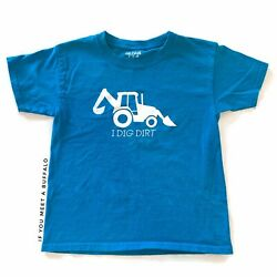 New Youth Backhoe Shirt Construction Work Machines Blue Gray I Dig Dirt $15.00