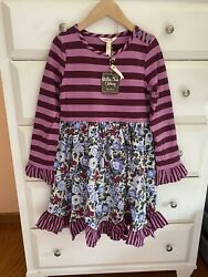 New Matilda Jane Size 8 Choose Your Path Wise One Dress purple striped floral $39.99