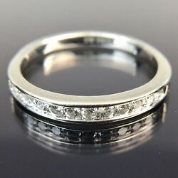 14k Magic Glo 12 Diamond Channel Band White Gold Ring Size 6 $249.00