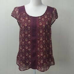 Lauren Conrad Top Womens Medium Floral Burgundy Red Pleated Lace Boho M $15.20