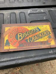 vintage antique wooden advertising crate top F S Wertz biscuits amp; crackers PA 19 $49.00