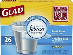 Glad Small Trash Bags with Odor Shield 4 Gallon 26 bags Pack of 2 $15.79