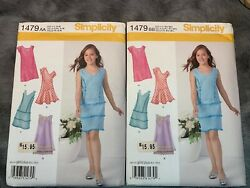 LOT 2 Simplicity Girls Girls Plus Dresses Pattern 1479 Uncut AA amp; BB size 8 16.5 $9.95