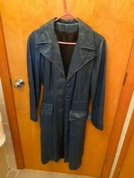 Long women#x27;s navy blue leather coat with belt fully lined. Size small. $20.00