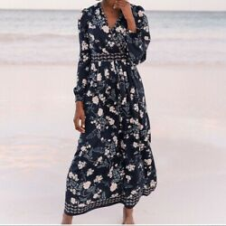 Gal Meets Glam Collection Women#x27;s Jade Long Sleeve Floral Maxi Dress Navy 2 $199.11