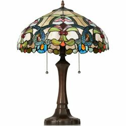 Authentic Tiffany Style Victorian 2 Light Table Lamp with 16quot; Stained Shade $138.00
