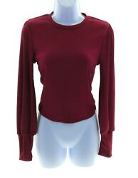 Active USA Juniors Maroon Long Sleeve Top Cropped Winter Casual $13.20