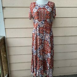 Raga Sunset Gold Maxi Dress Short Sleeve Long Boho Casual Buttons Peasant M $33.99