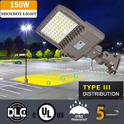 150W LED Parking Lot Lights Commercial Outdoor IP65 Shoebox Street Pole Lights