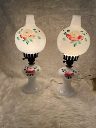 Vintage Electric Lamps Painted Milk Glass and Hobnail $20.00