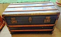 Steamer Trunk Flat Top – Antique with Brass amp; Wood amp; Leather PICK UP ONLY $150.00