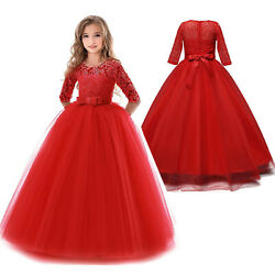 Flower Girls Princess Dress Kids Party Lace Tulle Wedding Birthday Red Gown $16.98