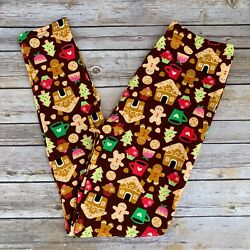 Gingerbread House Christmas Holiday Women#x27;s Leggings OS One Size 2 10 $10.99