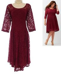 24 3X SEXY Womens BURGUNDY LACE HIGH LOW DRESS Evening Holiday Party PLUS SIZE $49.99