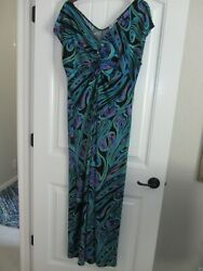 Kate amp; Mallory Peacock Color V Neck Sleeveless Maxi Dress Size 1X $16.50
